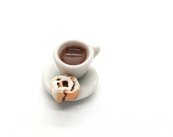 Coffee and cinnamon roll Progress Keeper; cute kawaii charm; stitch marker; Polymer clay charms