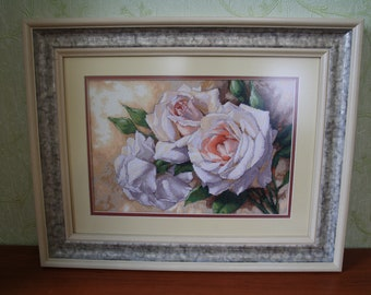 White Roses finished cross stitch picture.
