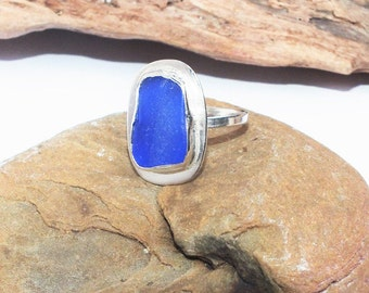 Sterling Sea Glass Ring, Statement Ring, Size 8 3/4 Seaglass Ring, Sea Glass Jewelry,  Lake Erie Beach Ring, Sterling Ring, Beach Ring