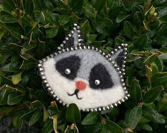 Original wool Raccoon brooch/Gift Idea