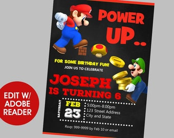 Super Mario Brothers Birthday Invitation, Super Mario Brothers Invitation, Super Mario Brothers, Birthday Invitation, Birthday Invite