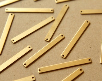 8 pc. Raw Brass Narrow Bars with Two Holes: 41mm by 4mm - made in USA | RB-575