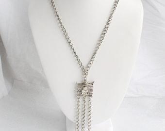 Vintage Buddha Necklace Silver Chains Tassel Dangles Buddha Pagoda Chains Tassels Silver Finish