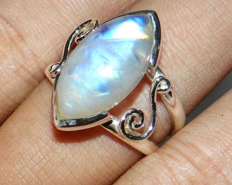 Blue Fire Rainbow Moonstone Ring, Natural Moonstone Ring, Gemstone Ring, Unique Ring,  Sterling Silver Ring, Birthday Gift Ring, Women Rings