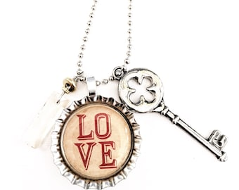 Love Bottle Cap Necklace