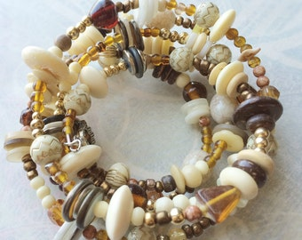 Tribal jewelry Nature colors memory wire bracelet beige brown golden hippie bracelet boho bracelet