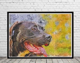 Pit Bull, Pit Bull print, Pit Bull oil painting, oil painting print, Pit Bull oil painting print, Pit Bull art, Pit Bull art print