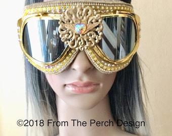 Gold Burning Man Goggles, Steampunk Aviator  Festival  Gold Sunglasses, Snowboarding EDM Rave costume