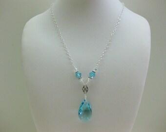 Swarovski Aquamarine Crystal Y Necklace - FREE SHIPPING