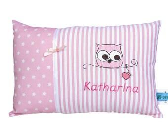 Personalisiertes Kissen zur Geburt oder Taufe, mit Motiv Eule, in rosa, aus Baumwollstoff, ein tolles Kuschelkissen,Kinderkissen für Kinder.