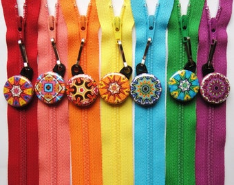 10 Assorted Kaleidoscope Zipper Pulls NEW DESIGNS - Pinwheel Collection