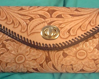 Incredible Hand-Tooled Leather Clutch Purse - L102