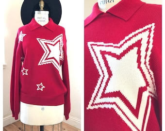 1980's St. John Star Pullover   Red and White   Designer Vintage Star Sweater   Bold Hip Statement Sweater   Made in USA   Loose Fit   MED