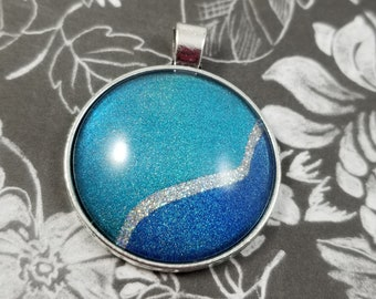 Glitter Nail Polish Necklace, Glass Cabochon Jewelry