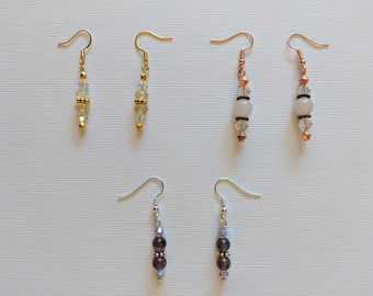 Citrine/Quartz/Amethyst and Swarovski Beaded Dangle Earrings - 3 Pairs