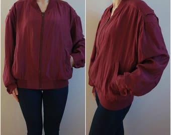 Vintage Bomber Jacket, Silk Jacket, Wine Red Jacket, Men's Blouson, 1980s, Size S