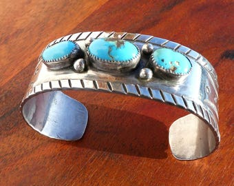 Natural Turquoise and Sterling Silver Cuff Bracelet