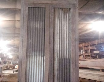 Good Bartley    Rustic Bathroom Linen Cabinet With Reclaimed Metal, Reclaimed  Pine Barn Siding,