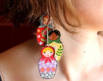 Russian doll earrings, retro jewelry, nesting doll earrings, matryoshka earrings, ethnic nesting dolls, nesting doll jewelry, long earrings