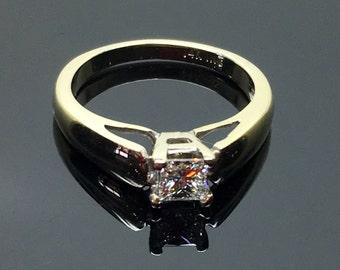 Princess Cut Diamond Soliaire Ring in 14 Karat White Gold  Includes Diamond Grading Report