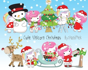 Cute Unicorn Christmas clipart instant download PNG file - 300 dpi
