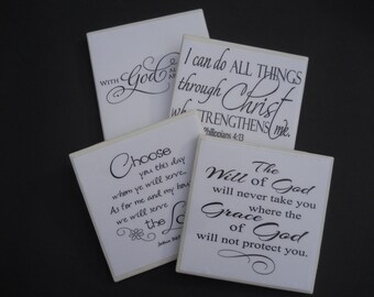 Bible Verse Coasters ~ Religious Coasters ~ Inspirational Coasters ~ Ceramic Tile Coasters ~ Drink Coasters ~ Home Decor ~ Preacher Gift