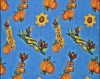 "Springs ""Harvest Allover"" #09169 Pumpkins Crows Corn Fall Autumn Cotton Fabric 1/2 Yd. 18"" X 43"""