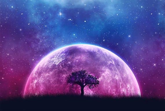 galaxy moon tree of life fantasy art print