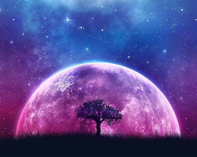 galaxy moon tree of life fantasy art print