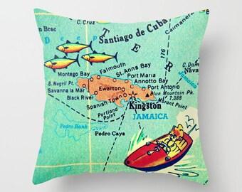 JAMAICA Pillow Cover 18x18, Jamaica Wedding Gift, Negril Wedding Gift, Jamaica Pillow, Jamaica Map Throw Pillow, Jamaica gift