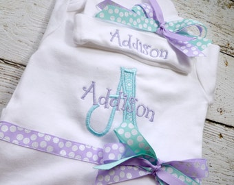 Personalized Coming Home outfit, Take  Home From Hospital Outfit, Hospital Hat with Name, Newborn photos outfit, in lavender and aqua