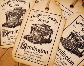 Remington Typewriter Vintage Style Stamped Tags Set of 6