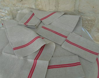 Huge, French, new unused ( old stock) vintage, linen torchon  in ecru  with double red stripes to each vertical side.