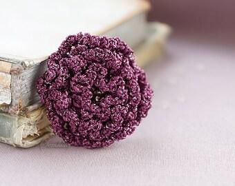 Grape crochet flower brooch 3,  accessory