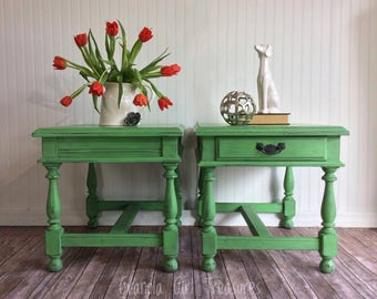 End Tables, Side Tables, Green Side Tables, Accent Tables, Green, Night