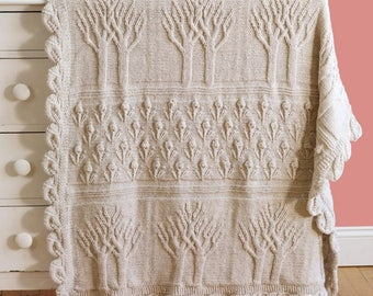 Tree of Life Afghan Throw, Measures 48 x 58 Inches, Vintage Knitting Pattern, PDF, Digital Download