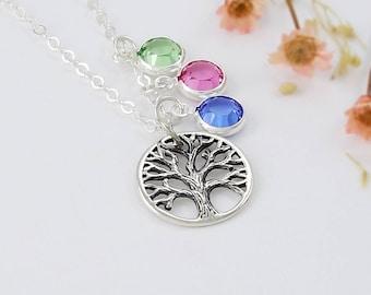 Family Tree of Life Birthstone Necklace Swarovski Crystal Personalized January Garnet Grandmother Silver Mom