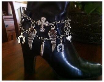 Boot Bracelet, Boot Bling, Boot Charm, Christian Bracelet, Cowgirl Boot Charm, Cowgirl Boot Bracelet