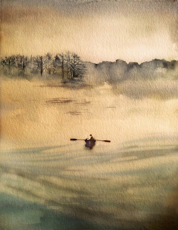 Unique Watercolor painting ART My Maine On A Foggy Day original HH74