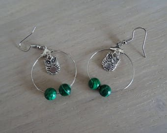 Creole earrings with beads and owls