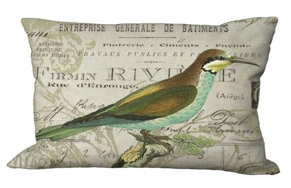 Oblong Aqua Bird On French Invoice Lumbar Pillow Cover 24x16