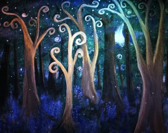 Fairy Tale Forest print, image of original artwork, enchanted forest, swirly trees