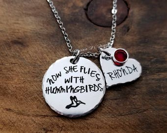 Personalized Jewelry, Now She Flies With Hummingbirds Necklace, Hummingbird Memorial Necklace, In Memory of Necklace, Sympathy Gift For Her