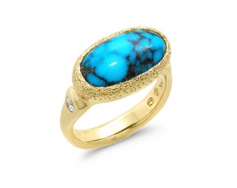 Turquoise and Diamond One-of-a-Kind Handmade 14K Yellow Gold Ring (IND0998)