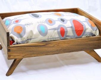 Medium Midcentury Modern Pet Bed, Reclaimed Teak Lumber