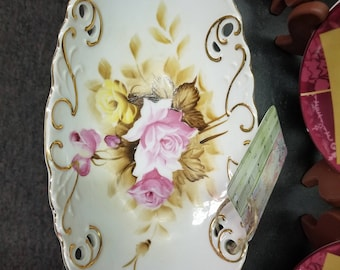Vinage Oval Hand Painted Roses Dish