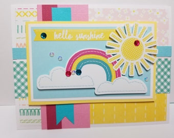 Handmade All Occasion Card, Hello Sunshine, Spring, Rainbows