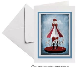 Greeting Card   Blank Card   Carousel Art Card   Art Greeting Card   Carousel Horses   Merry Go Round Girl   Carousel