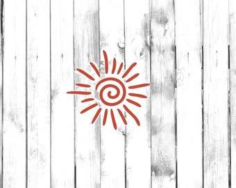 Swirling Sun Symbol - Di Cut Decal - Car/Truck/Home/Phone/Computer/Laptop Decal