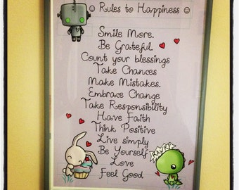 Rules to Happiness - Positive Happy Insipiration - 5x7 Art Print - silly cute kawaii - ReLove Plan.et